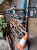 Quantity of steel bar & tube on and including 5 tier stock rack.(Please note: this lot is to be
