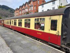 BR Mark 1 type TSO coach, no. M4947, 64-seats in chain link moquette, 2 x WC's, carmine and cream