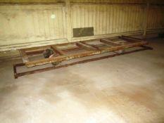 """Rail chassis potato box trolley, approx. size: 1.3m x 3.7m, gauge 23"""""""