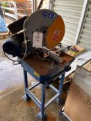 Macc TA400 circular aluminium mitre saw on steel stand with 340mm blade, 420V, s/n 35702