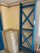 Three bays of dismantled boltless racking. Comprising of 4x uprights 2.3m high, 24x crossbeams 2.