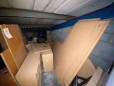 Contents of the room - a quantity of light wood veneer office furniture, desks and pedestals