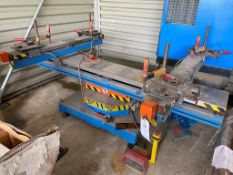 Jansen frame welding worksteady table with power adjustable bed and revolving turn table, pedal