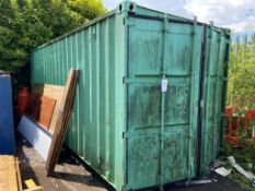 20 foot x 8 foot shipping container, plywood floor (contents not included) (Please note a Risk...