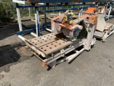 Clipper Norton CHW600 wet cut circular saw travelling bed on fold away stand. Y.O.M 2007