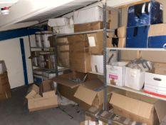 Three bays of light duty racking, 2m high x 1.2m wide x 50cm deep, 3 chip board shelves for each bay