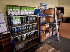Four bays of light duty racking 1.5m high x 1m wide 5 steel shelves. (NB: Buyer to disassemble,
