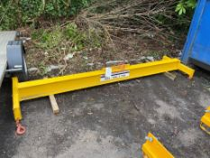 Crane attachment lifting beam 3m wide. Max 2 ton capacity with corner hooks. Please note: This lot