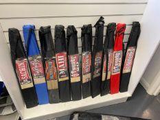 Ten various Kashmir Willow indoor cricket bats c/w carry case size 6