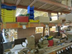 Contents of 4 bays of Racking to include sundry sheets of wood stock, hydraulic arms, plastic...
