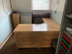 Contents of the office as lotted to include L shaped desk 180cm x 180cm x 75cm x 75cm, 3 chairs, 2