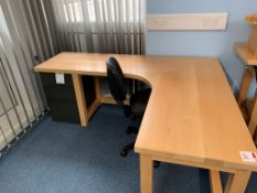Wooden L shaped Desk with office chair and 3 drawer pedestal 194cmx 154cm x 75cm H x86cm D