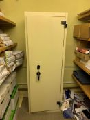 Steel safe cupboard with inner shelves and lock box 195cm H x 70cm W x 50 cm D