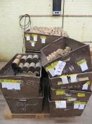 Twelve metal bins & contents to include various size mallet head blanks ready for turning