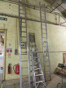 Five various aluminium ladders as lotted
