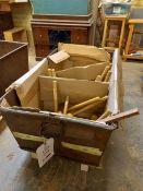 Steel storage bin and twenty-eight various wooden mallets