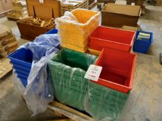 Pallet of thirty-seven coloured plastic storage crates