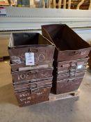 Seventeen steel bins