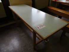 Four canteen tables 6' x 2' & four wooden form benches 6' x 1'