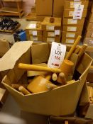 Box of various mallets and wooden pins