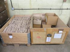 Contents of two boxes of various size ash mallet heads