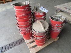 Approx. 35 original style fire buckets c/w wall fixings