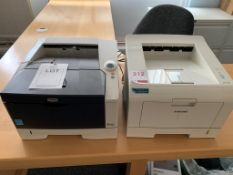 Two desktop printers a Samsung ML-2250 and Kyocera FS-1120D