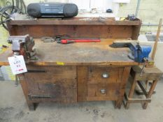 Machinest Bench with two steel vices, filing cabinet & stool