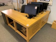 Wooden L shaped Desk 200cm x 180cm x 60cm x 75cm c/w office chair and 3 drawer pedestal