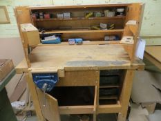 Work bench c/w lockable top & vice & a wooden table