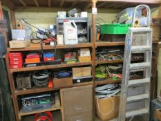 Contents of two shelving units, one rack, tambour fronted unit to include anchor bolts, conduit