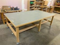 Mobile 6 legged work bench 83cm (H) x 250cm (L) x 150cm (W). NB last day of collection only