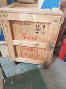 Wooden Export packing case with latches, approx. size 900mm x 800mm x 1020mm high