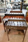 Three various steel frame workbenches with tool holding racks, max length approx 1080mm (Recommended