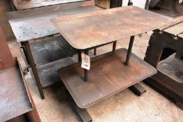Two various steel frame fabrication/workbenches, max length approx 1300mm (Recommended collection