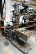 """Asquith 24"""" radial arm drill, with 24 x 16 x 9"""" rise and fall slotted box table (Please note: A work"""