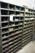 Contents of two bays of racking incl. various nuts, bolts, rollers, washers, etc. (as lotted) (