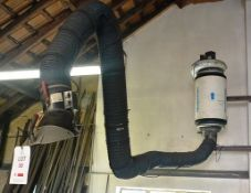 Nederman wall mounted welding fume extractor, with extraction fan, flexible ribbed ducting and