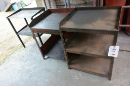 Three various steel frame tables (Recommended collection period for this lot Wednesday 15th - Friday