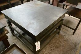 Inspection table, approx 4 x 4ft, mounted on steel frame (Recommended collection period for this lot