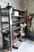 Bay of welded steel racking and loose contents to incl. various groundskeeping sundries, approx 1600