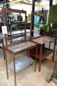 Two various steel frame workbenches, max length approx 900mm (Recommended collection period for this