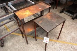 Two steel frame side tables, max length approx 770mm