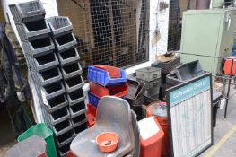 Quantity of plastic tote bins, metal storage drawers, timber cases, drawers, stacking chairs,