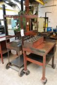 Two mobile steel frame workbenches, with tool holding racks, approx 900 x 600mm (Recommended