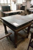 Inspection table, approx 3 x 3ft, mounted on timber frame (Recommended collection period for this