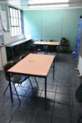 Two canteen tables and 13 polystacking chairs