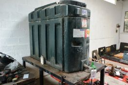 Harlequin 650 BND bunded plastic storage tank, capacity 679 litres, mounted on table stand Please