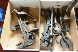 Assorted adjustable spanners, clamps, etc. (Recommended collection period for this lot Wednesday