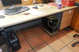 Light oak effect desk with 3 drawer pedestal